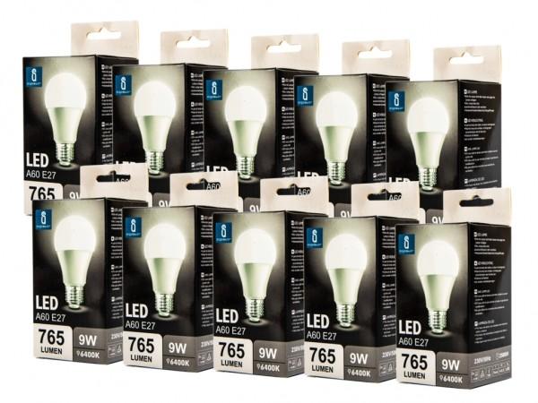 LED Leuchtmittel A60 9W E27 6400K kaltweiss 10er Pack