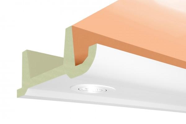 LED Stuckprofil Typ: 17 - 80x200mm PU 2m Länge lichtundurchlässig überstreichbar