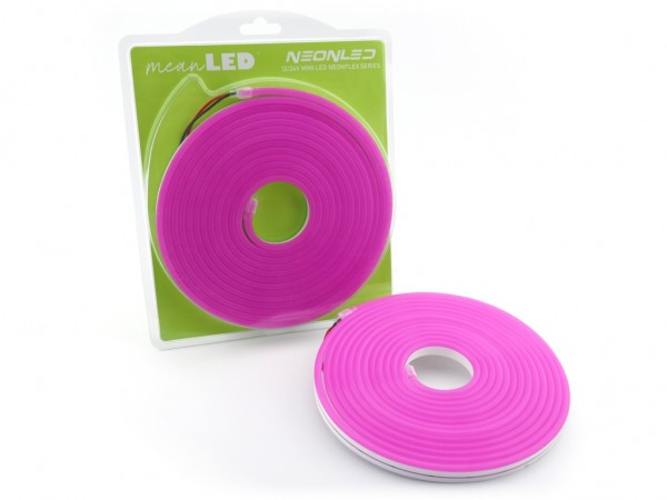 MINI neonLED Silikon-Schlauch 5m Rolle 8W/m 12VDC IP67 Farbe: Pink (370nm)