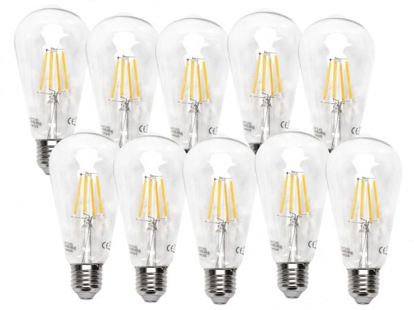 LED Filament Leuchtmittel E27 Edison 8W 2700K warmweiss 10er Pack