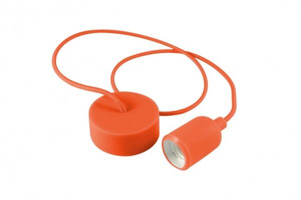 E27 Kabelleuchte 1m Textilkabel Silikon - orange