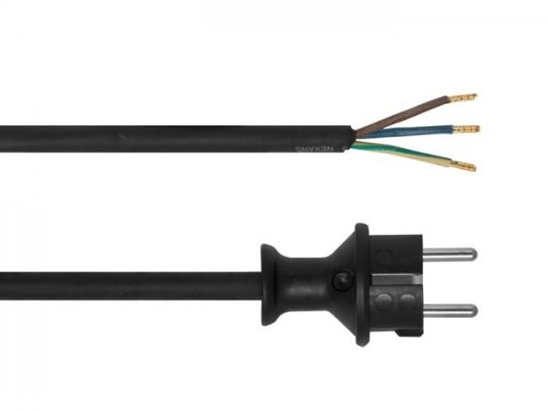 Gummi-Anschlussleitung, H07RN-F, 3 x 1,5², 3 m, schwarz