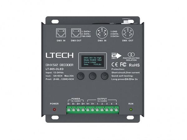 LT-905-OLED 5-Kanal DMX/PWM 5x5A LED Controller