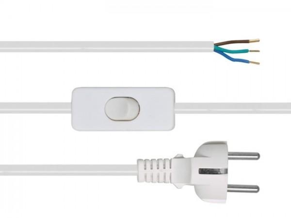 Anschlusszuleitung, H03 VV-F, 3 x 0,75², 2 m, weiß