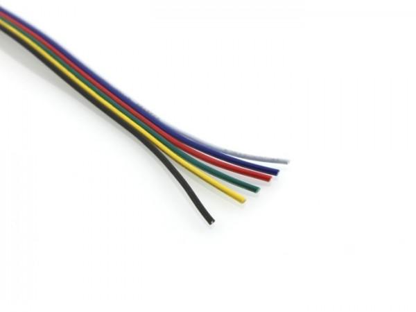 RGBCCT Flachbahnkabel 6x 0,5mm² 1m (Meterpreis)
