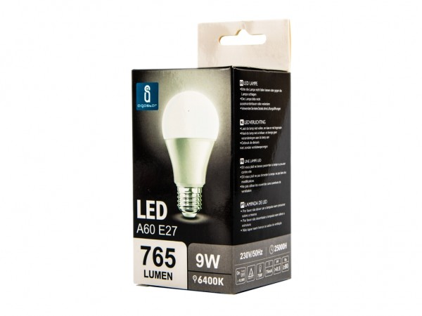 LED Leuchtmittel A60 9W E27 6400K kaltweiss