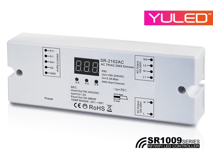 SR-2102AC 230V DMX Controller 2-Kanal Dimmerpack 2x1,2A | DMX ...