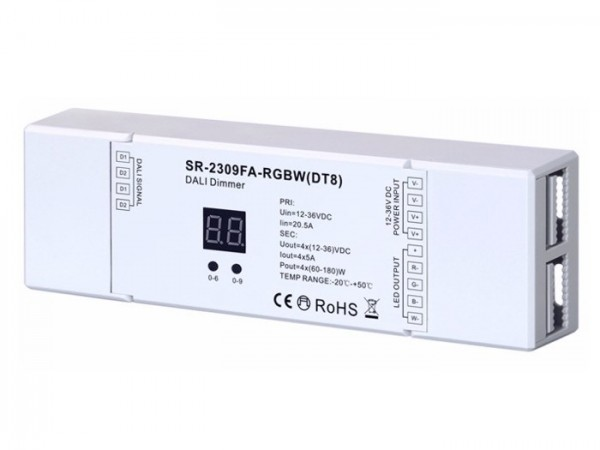 SR-2309FA-RGBW (DT8) DALI LED Controller 4-Kanal 4x5A 12-36V