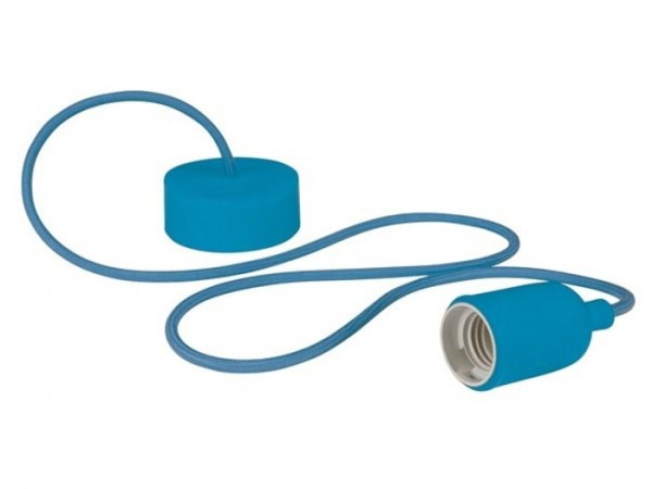 E27 Kabelleuchte 1,40m Textilkabel Silikon - blau -