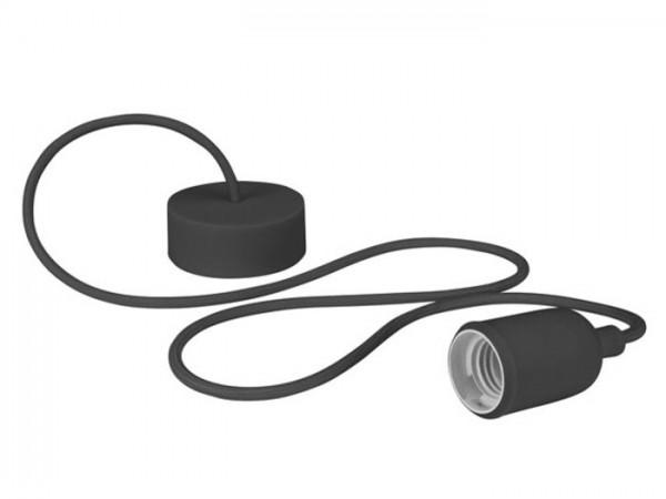 E27 Kabelleuchte 1,40m Textilkabel Silikon - schwarz -