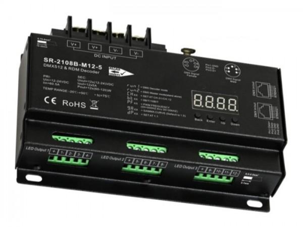 LED Controller SR-2108B-M12-3 DMX / RDM 12x5A - PWM select XLR RJ45
