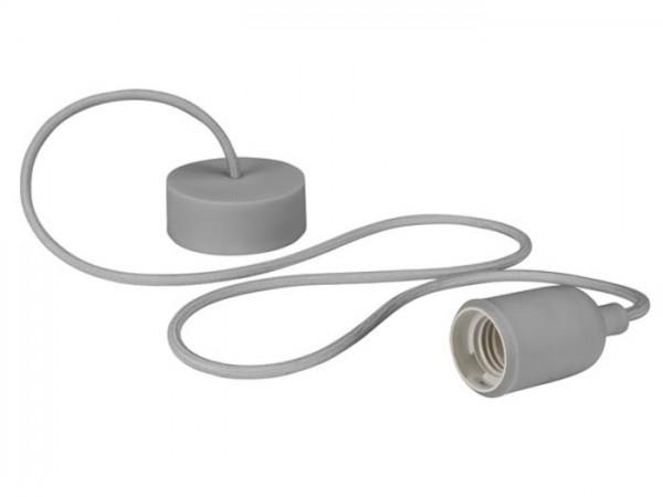 E27 Kabelleuchte 1,40m Textilkabel Silikon - grau -