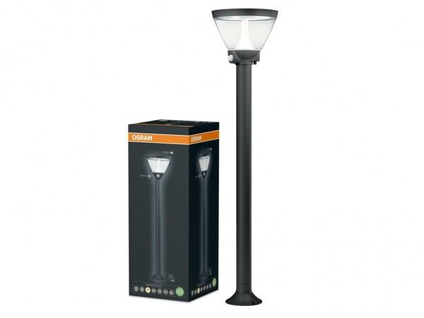 LED Standleuchte Aussen Solar + 230V, 90cm, Helligkeitssensor, Bewegungsmelder